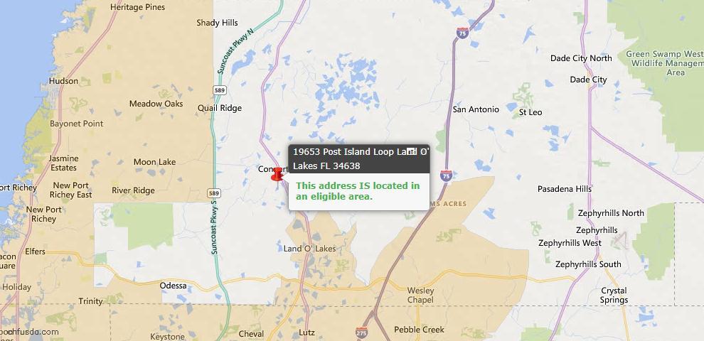 USDA Loan Eligiblity Map - 19653 Post Island Loop, Land O Lakes, FL 34638