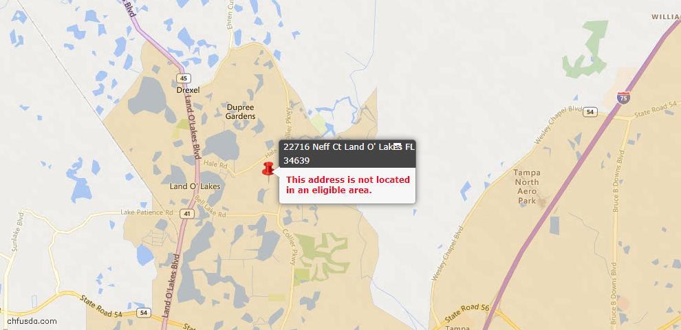 USDA Loan Eligiblity Maps From - Land O Lakes, FL