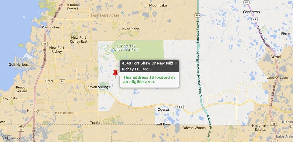 USDA Loan Eligiblity Map - 4348 Fort Shaw Dr, New Port Richey, FL 34655