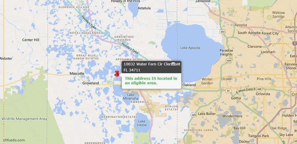 USDA Loan Eligiblity Map - 10032 Water Fern Cir, Clermont, FL 34711