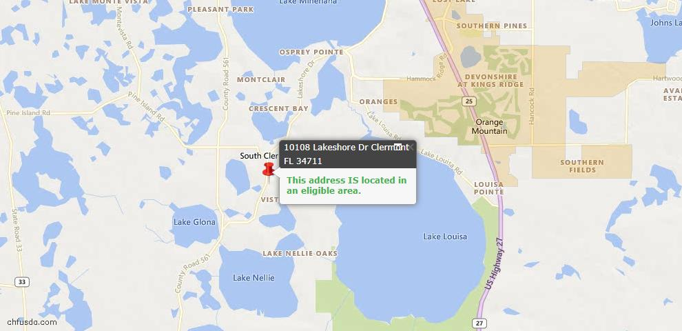 USDA Loan Eligiblity Map - 10108 Lakeshore Dr, Clermont, FL 34711