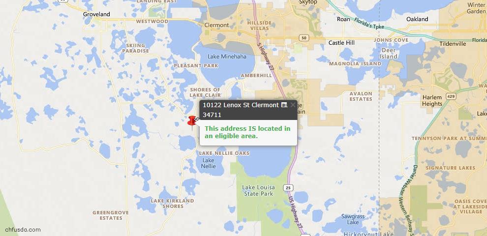 USDA Loan Eligiblity Map - 10122 Lenox St, Clermont, FL 34711