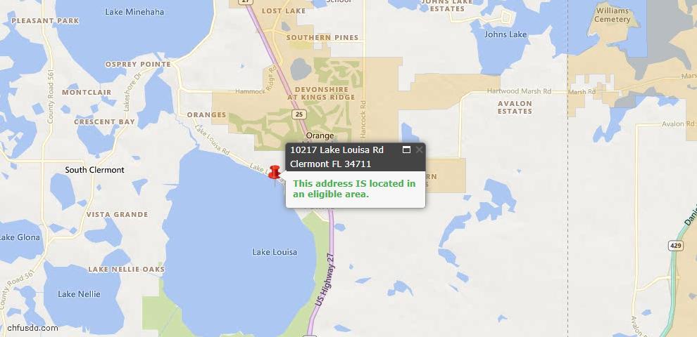 USDA Loan Eligiblity Map - 10217 Lake Louisa Rd, Clermont, FL 34711