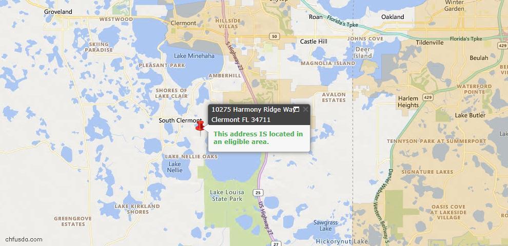 USDA Loan Eligiblity Map - 10275 Harmony Ridge Way, Clermont, FL 34711