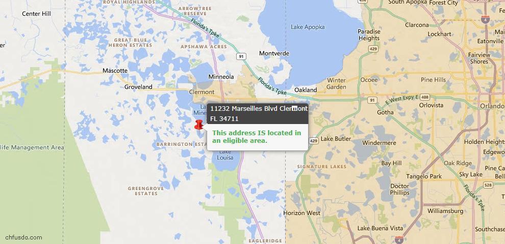 USDA Loan Eligiblity Map - 11232 Marseilles Blvd, Clermont, FL 34711