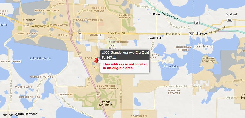 USDA Loan Eligiblity Maps From - Clermont, FL