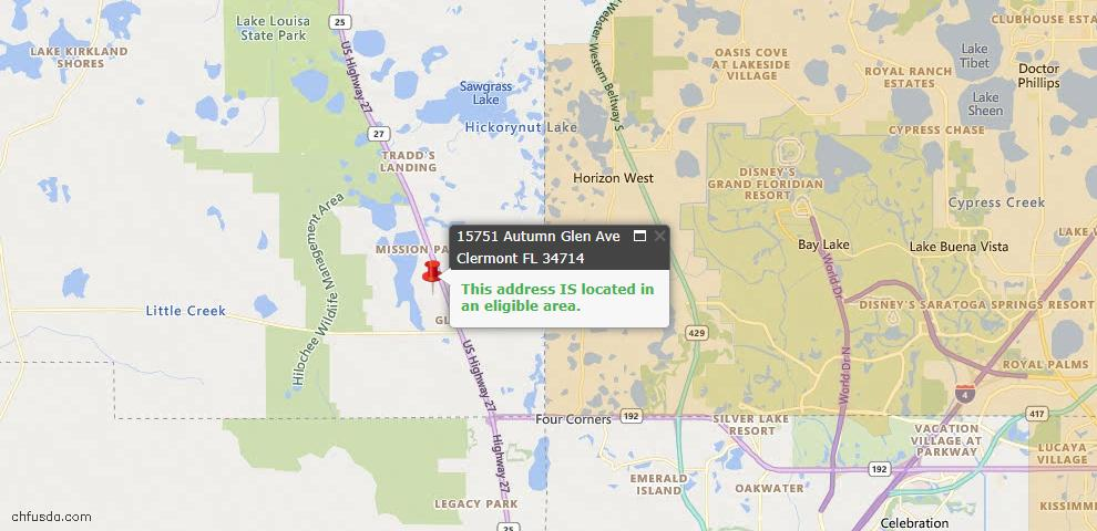 USDA Loan Eligiblity Map - 15751 Autumn Glen Ave, Clermont, FL 34714