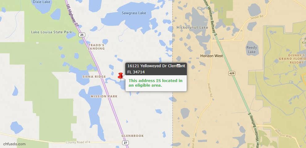 USDA Loan Eligiblity Map - 16121 Yelloweyed Dr, Clermont, FL 34714