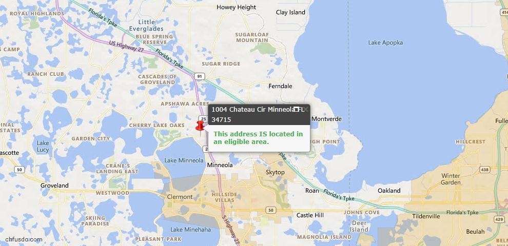 USDA Loan Eligiblity Map - 1004 Chateau Cir, Minneola, FL 34715