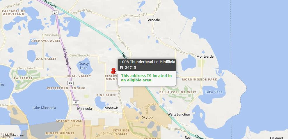USDA Loan Eligiblity Map - 1008 Thunderhead Ln, Minneola, FL 34715