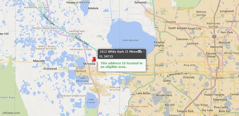 USDA Loan Eligiblity Map - 1012 White Bark Ct, Minneola, FL 34715