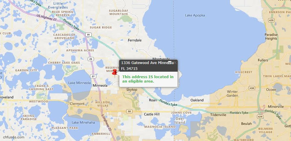 USDA Loan Eligiblity Map - 1336 Gatewood Ave, Minneola, FL 34715