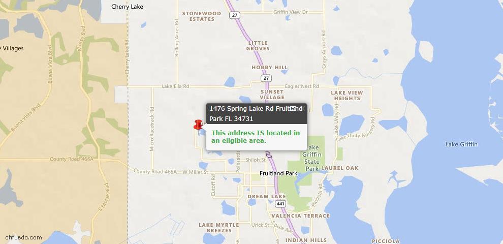 USDA Loan Eligiblity Maps From - Fruitland Park, FL