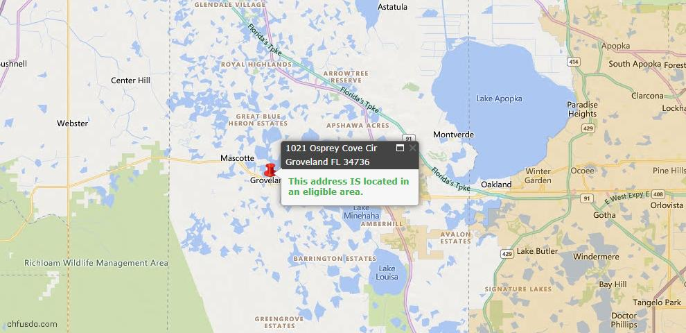 USDA Loan Eligiblity Map - 1021 Osprey Cove Cir, Groveland, FL 34736