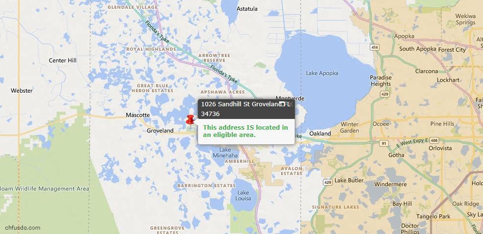 USDA Loan Eligiblity Map - 1026 Sandhill St, Groveland, FL 34736