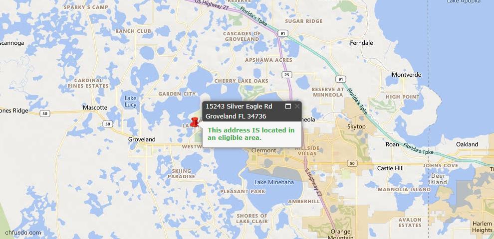 USDA Loan Eligiblity Map - 15243 Silver Eagle Rd, Groveland, FL 34736