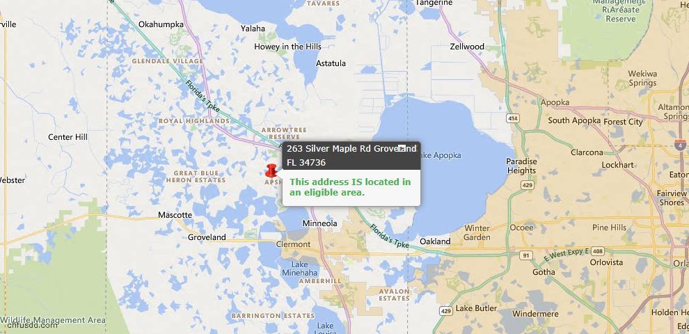USDA Loan Eligiblity Map - 263 Silver Maple Rd, Groveland, FL 34736