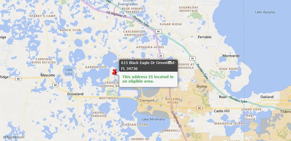 USDA Loan Eligiblity Map - 615 Black Eagle Dr, Groveland, FL 34736
