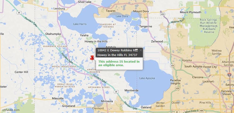 USDA Loan Eligiblity Map - 10042 E Dewey Robbins Rd, Howey In The Hills, FL 34737