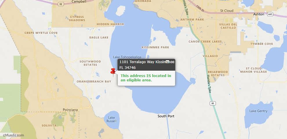 USDA Loan Eligiblity Map - 1101 Terralago Way, Kissimmee, FL 34746
