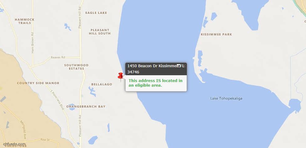 USDA Loan Eligiblity Map - 1450 Beacon Dr, Kissimmee, FL 34746
