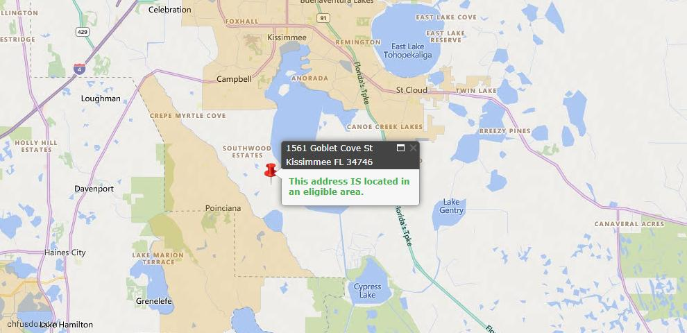 USDA Loan Eligiblity Map - 1561 Goblet Cove St, Kissimmee, FL 34746