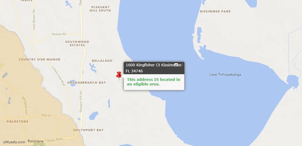 USDA Loan Eligiblity Map - 1600 Kingfisher Ct, Kissimmee, FL 34746