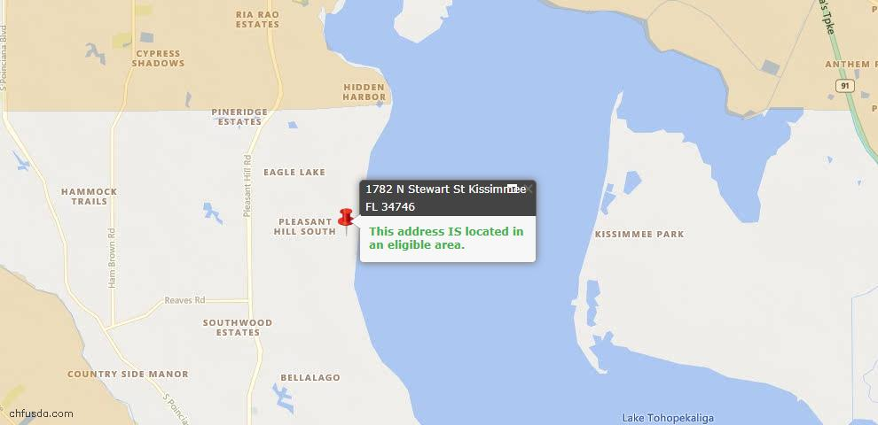USDA Loan Eligiblity Map - 1782 N Stewart St, Kissimmee, FL 34746