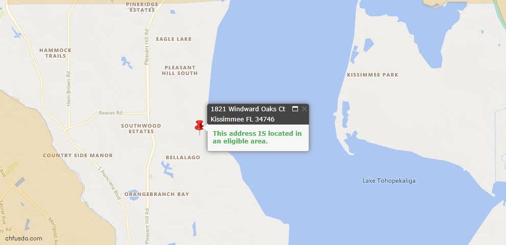 USDA Loan Eligiblity Map - 1821 Windward Oaks Ct, Kissimmee, FL 34746