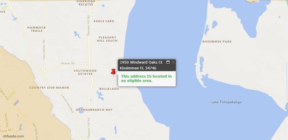 USDA Loan Eligiblity Map - 1950 Windward Oaks Ct, Kissimmee, FL 34746