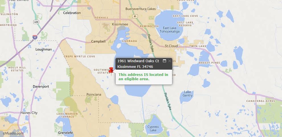 USDA Loan Eligiblity Map - 1961 Windward Oaks Ct, Kissimmee, FL 34746