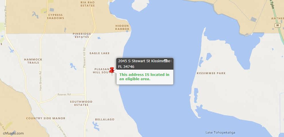 USDA Loan Eligiblity Map - 2045 S Stewart St, Kissimmee, FL 34746