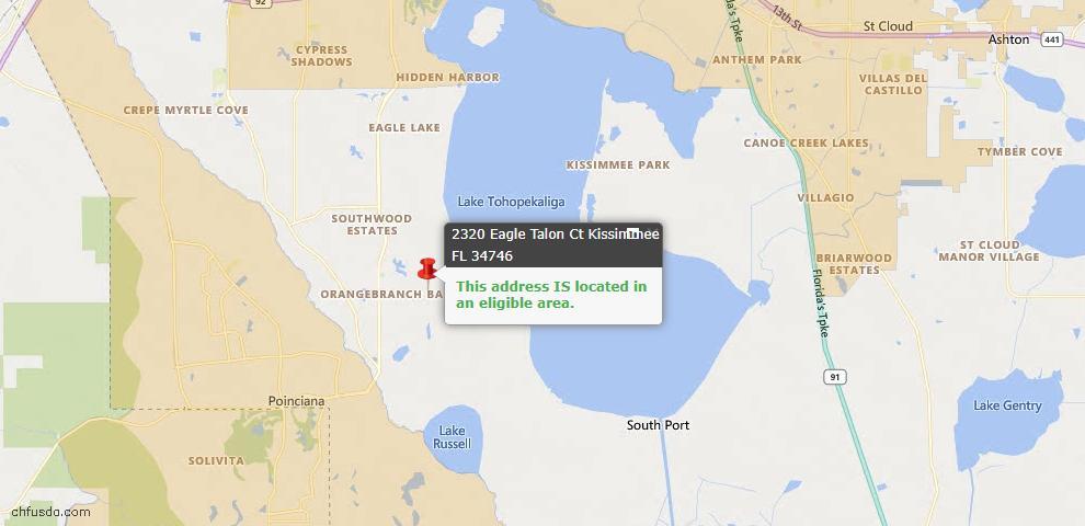 USDA Loan Eligiblity Map - 2320 Eagle Talon Ct, Kissimmee, FL 34746