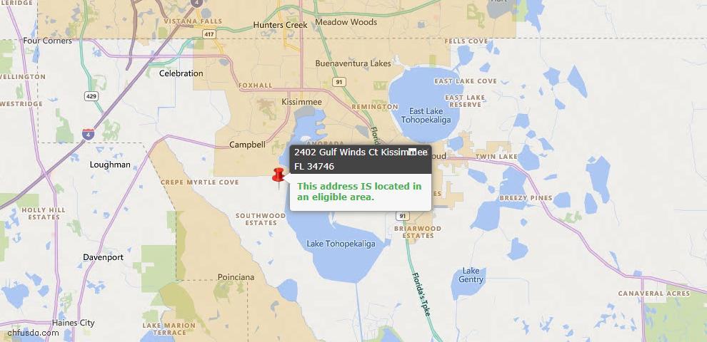 USDA Loan Eligiblity Map - 2402 Gulf Winds Ct, Kissimmee, FL 34746