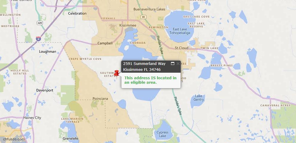 USDA Loan Eligiblity Map - 2591 Summerland Way, Kissimmee/St Cloud, FL 34746