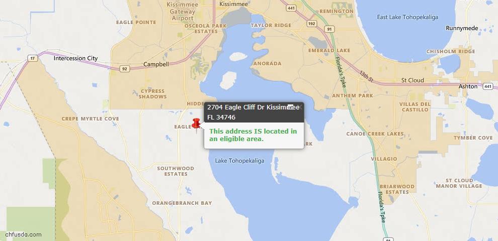 USDA Loan Eligiblity Map - 2704 Eagle Cliff Dr, Kissimmee, FL 34746