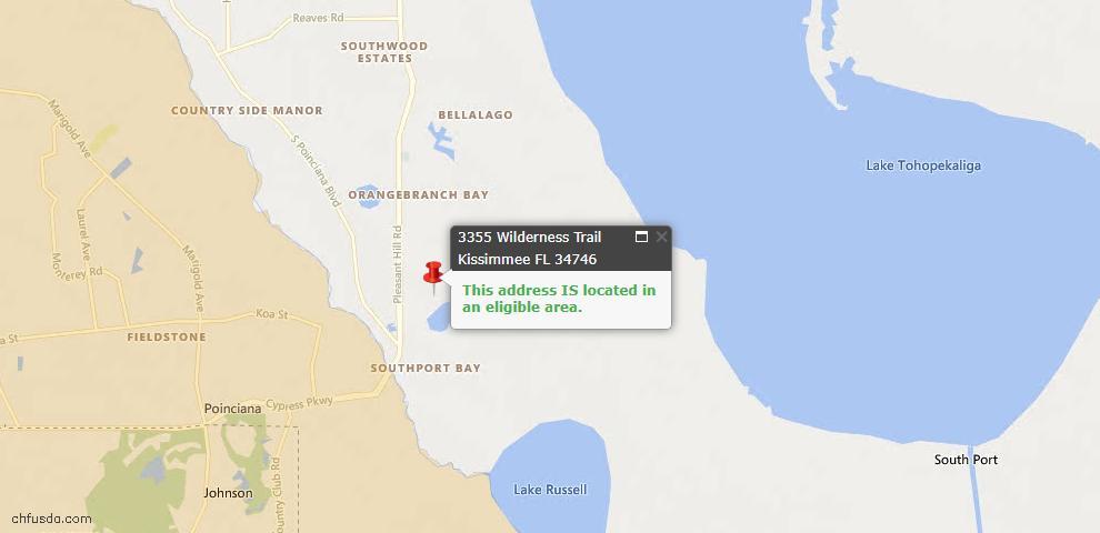 USDA Loan Eligiblity Map - 3355 Wilderness Trl, Kissimmee, FL 34746