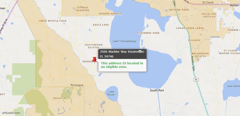 USDA Loan Eligiblity Map - 3506 Warbler Way, Kissimmee, FL 34746