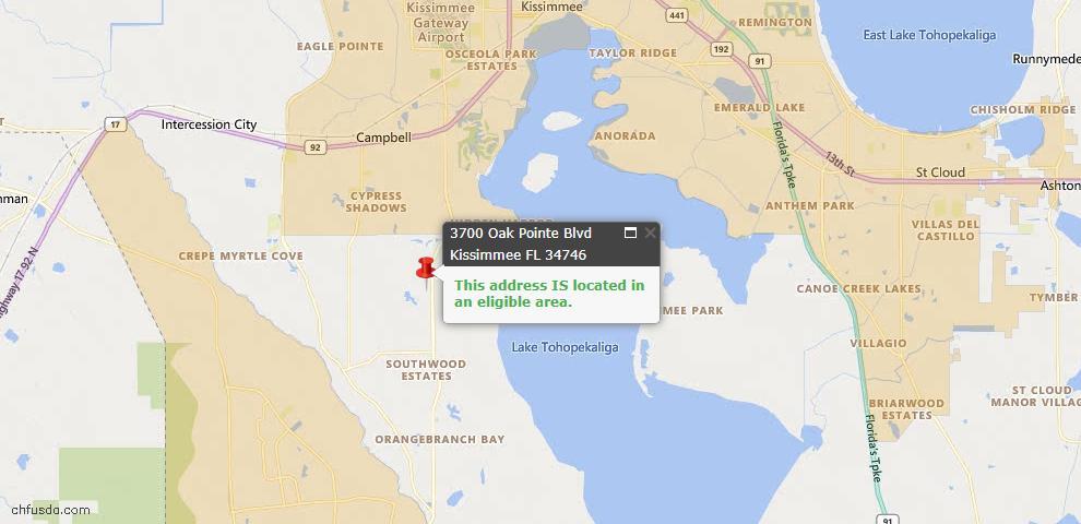 USDA Loan Eligiblity Map - 3700 Oak Pointe Blvd, Kissimmee, FL 34746