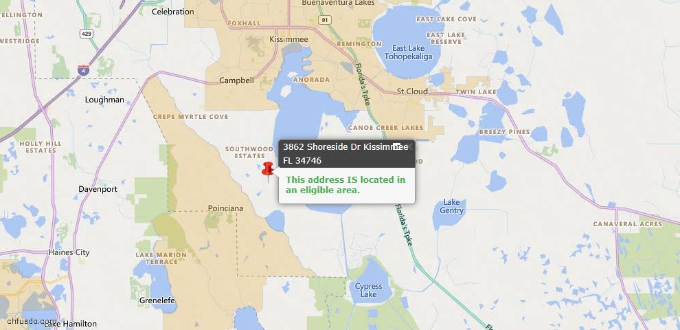 USDA Loan Eligiblity Map - 3862 Shoreside Dr, Kissimmee, FL 34746