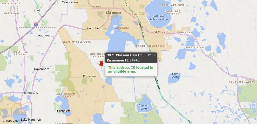 USDA Loan Eligiblity Map - 3971 Blossom Dew Dr, Kissimmee, FL 34746