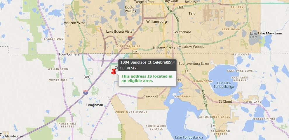 USDA Loan Eligiblity Map - 1004 Sandlace Ct, Celebration, FL 34747