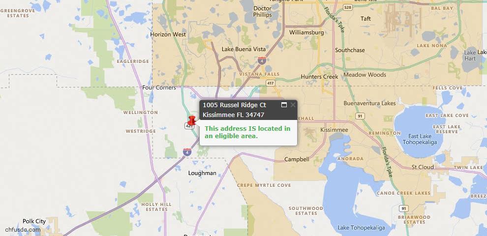 USDA Loan Eligiblity Map - 1005 Russel Ridge Ct, Kissimmee, FL 34747