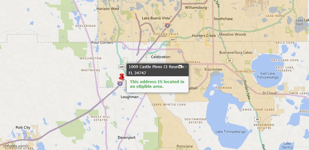 USDA Loan Eligiblity Map - 1009 Castle Pines Ct, Reunion, FL 34747