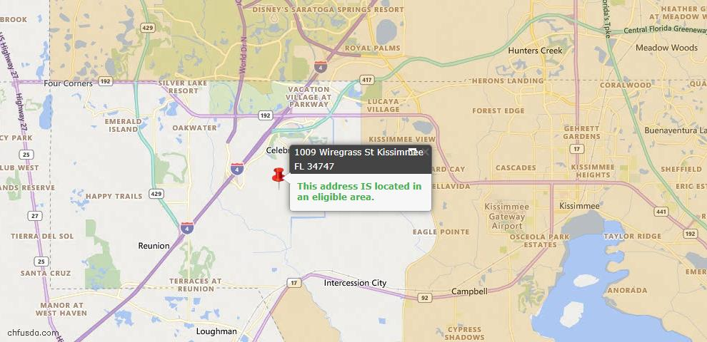 USDA Loan Eligiblity Map - 1009 Wiregrass St, Kissimmee, FL 34747