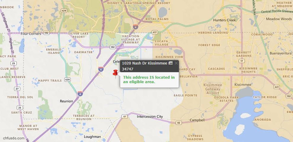 USDA Loan Eligiblity Map - 1020 Nash Dr, Kissimmee, FL 34747