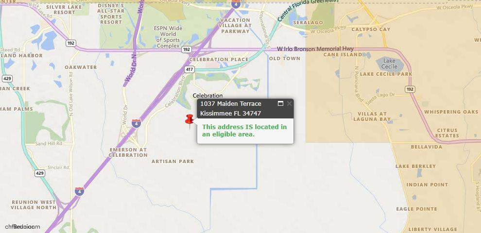 USDA Loan Eligiblity Map - 1037 Maiden Ter, Kissimmee, FL 34747