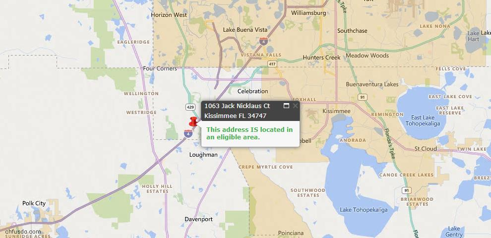 USDA Loan Eligiblity Map - 1063 Jack Nicklaus Ct, Kissimmee, FL 34747