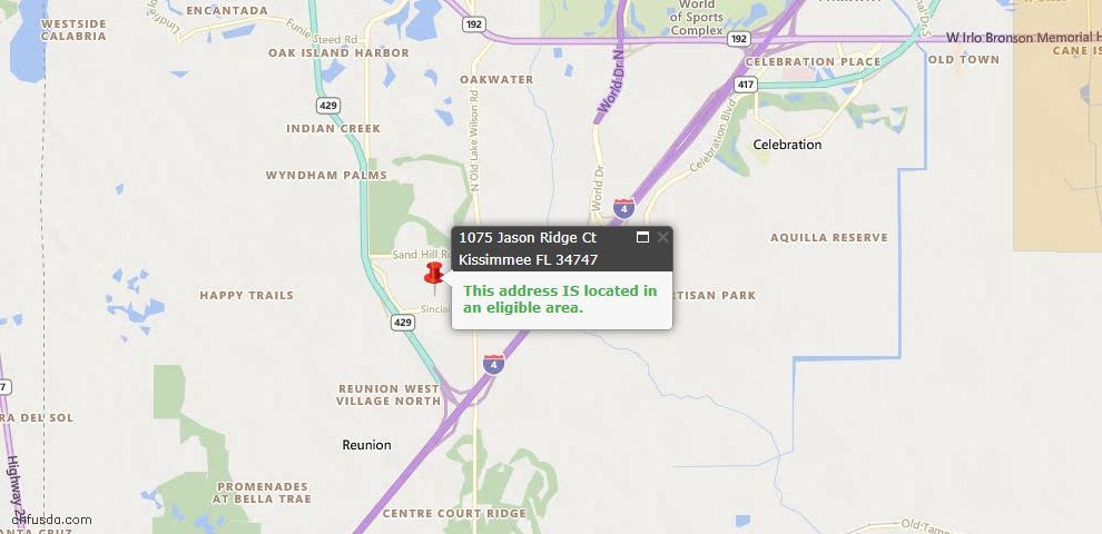 USDA Loan Eligiblity Map - 1075 Jason Ridge Ct, Kissimmee, FL 34747