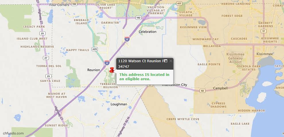 USDA Loan Eligiblity Map - 1120 Watson Ct, Reunion, FL 34747